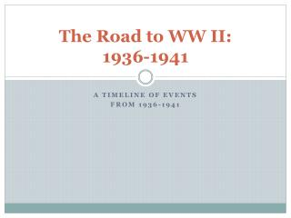 The Road to WW II: 1936-1941