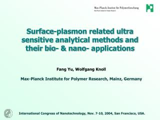 Surface-plasmon related ultra sensitive analytical methods and their bio- & nano- applications