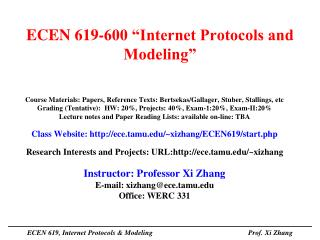 "ECEN 619-600 ""Internet Protocols and Modeling"""