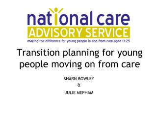 Transition planning for young people moving on from care