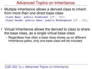 Advanced Topics on Inheritance