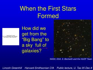 When the First Stars Formed