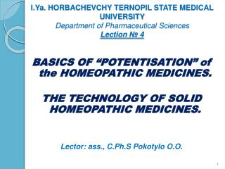 "BASICS OF ""POTENTISATION"" of the HOMEOPATHIC MEDICINES."