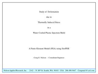 Study of  Deformation due to Thermally Induced Stress in a Water Cooled Plastic Injection Mold