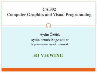 CA 302  Computer Graphics and  Visual Programming
