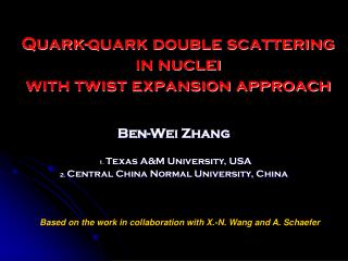 Quark-quark double scattering in nuclei  with twist expansion approach