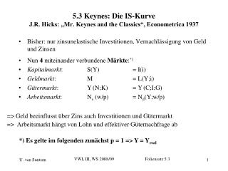 "5.3 Keynes: Die IS-Kurve J.R. Hicks: ""Mr. Keynes and the Classics"", Econometrica 1937"