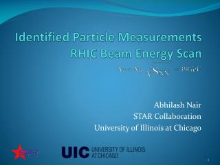 Identified Particle Measurements RHIC Beam Energy Scan