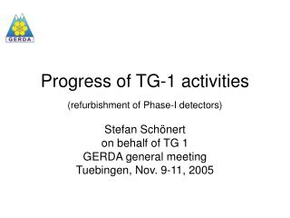 Progress of TG-1 activities (refurbishment of Phase-I detectors)