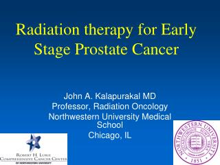 Radiation therapy for Early Stage Prostate Cancer