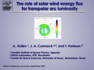 The role of solar wind energy flux for transpolar arc luminosity
