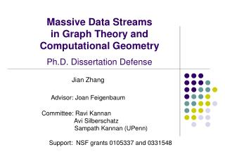 Massive Data Streams  in Graph Theory and Computational Geometry Ph.D. Dissertation Defense