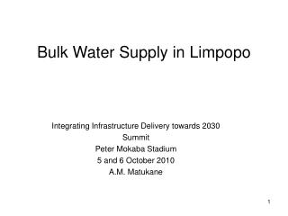 Bulk Water Supply in Limpopo