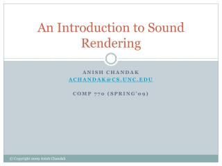 An Introduction to Sound Rendering
