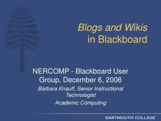 Blogs and Wikis in Blackboard