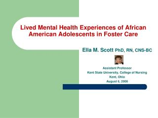 Lived Mental Health Experiences of African American Adolescents in Foster Care
