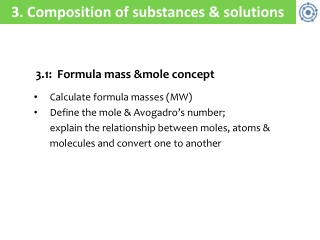 3 . Composition of substances & solutions