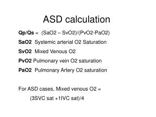 ASD calculation