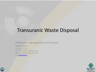 Transuranic Waste Disposal