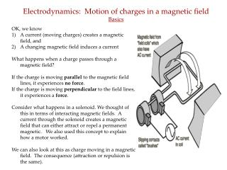 Electrodynamics:  Motion of charges in a magnetic field Basics