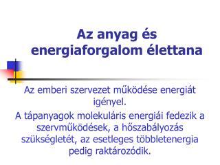 Az anyag és energiaforgalom élettana