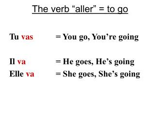 "The verb ""aller"" = to go"