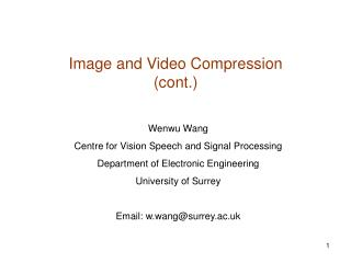 Image and Video Compression (cont.)