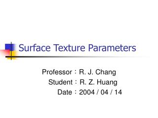 Surface Texture Parameters