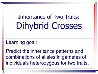 Inheritance of Two Traits: Dihybrid Crosses