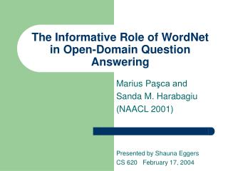 The Informative Role of WordNet in Open-Domain Question Answering