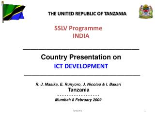 SSLV Programme INDIA ——————————————— Country Presentation on  ICT DEVELOPMENT ———————————————