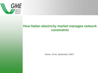 How Italian electricity market manages network constraints