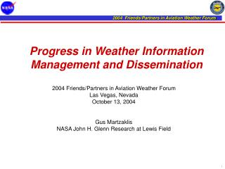 Progress in Weather Information Management and Dissemination