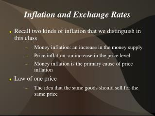 Inflation and Exchange Rates