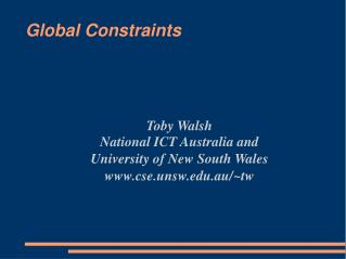 Global Constraints
