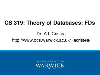 CS 319: Theory of Databases: FDs