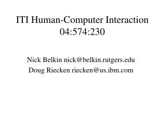 ITI Human-Computer Interaction 04:574:230
