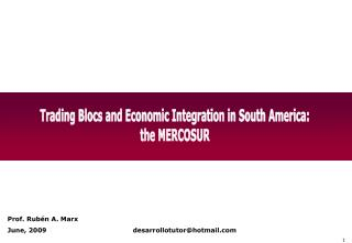 Trading Blocs and Economic Integration in South America: the MERCOSUR