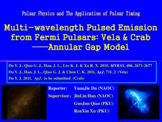 Multi-wavelength Pulsed Emission from Fermi Pulsars: Vela & Crab  ——Annular Gap Model