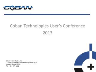 Coban Technologies User's Conference 2013