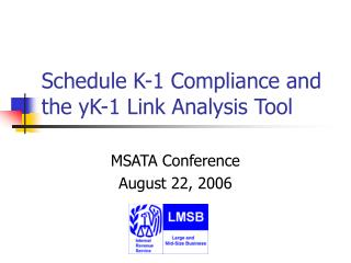 Schedule K-1 Compliance and the yK-1 Link Analysis Tool