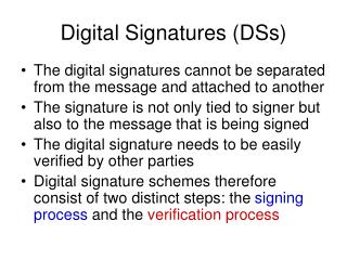 Digital Signatures (DSs)