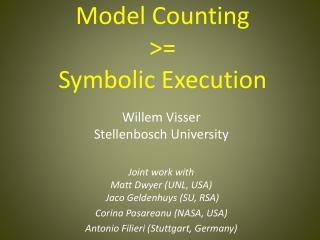 Model Counting >= Symbolic Execution