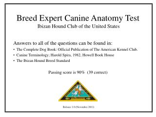 Breed Expert Canine Anatomy Test  Ibizan Hound Club of the United States
