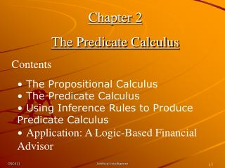 Chapter 2 The Predicate Calculus