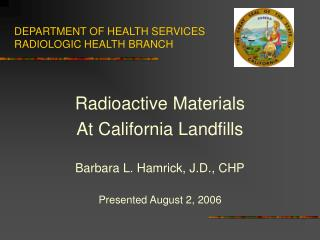 DEPARTMENT OF HEALTH SERVICES RADIOLOGIC HEALTH BRANCH