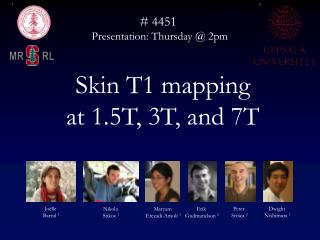 Skin T1 mapping  at 1.5T, 3T, and 7T