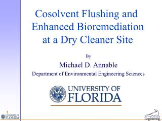 Cosolvent Flushing and  Enhanced Bioremediation  at a Dry Cleaner Site