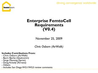Enterprise FemtoCell Requirements (V0.4)