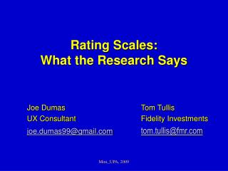 Rating Scales: What the Research Says